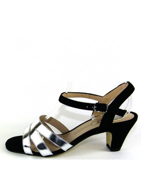 """Sandales """"Silene noir et argent"""""""
