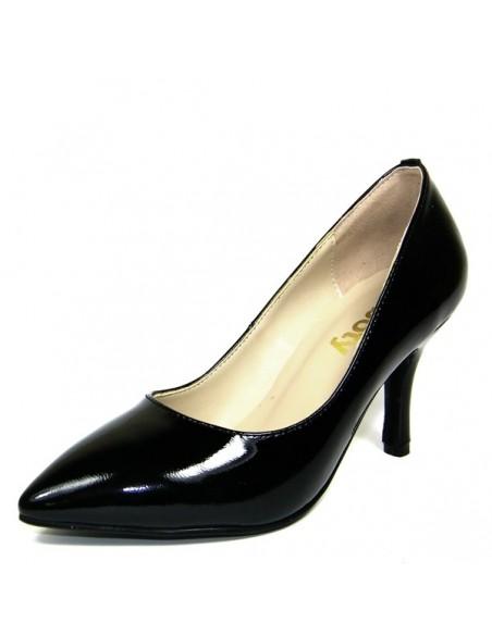 Escarpins noirs vernis cuir petite pointure femme