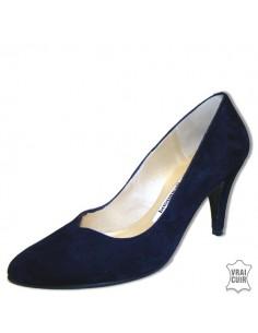 Escarpins bleu marine cuir petite pointure femme
