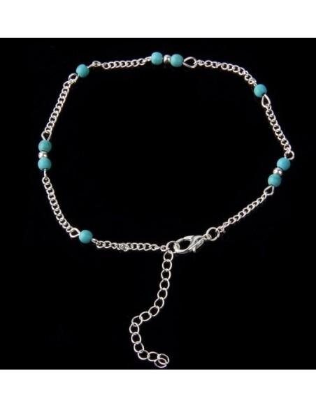 Bracelet de cheville turquoise