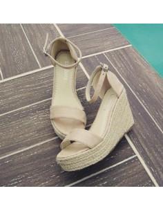 """Sandales compensées """"Mimosa"""" beige"""