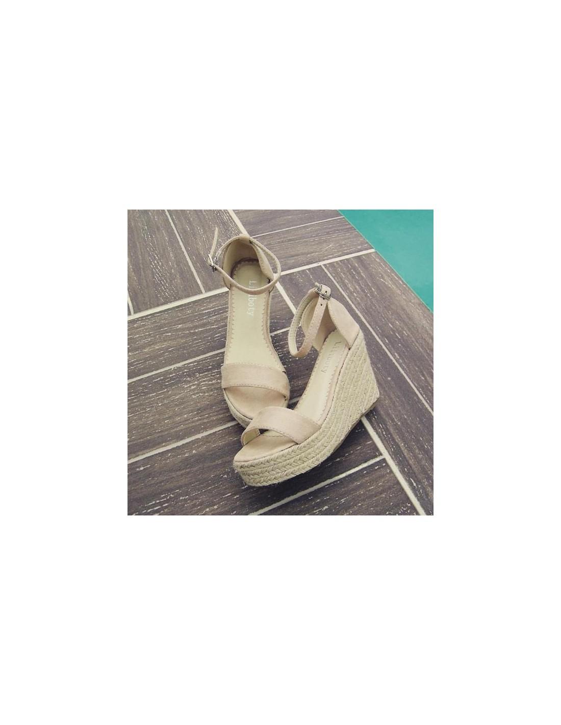 Rosé Pointure Compensés En Petite À Sandales Talons Femme Beige Yy6Ibfgv7