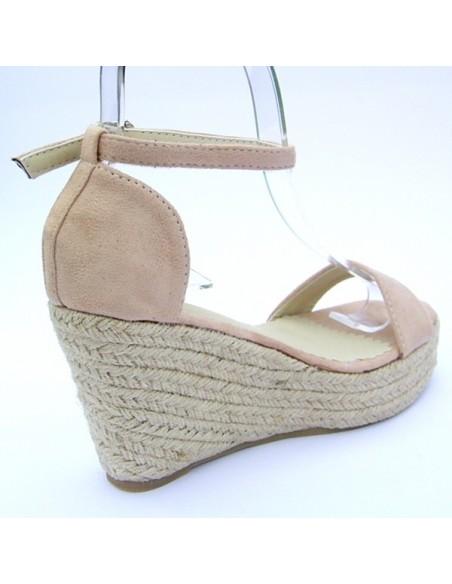 sandales beige ros talons compens s en petite pointure femme. Black Bedroom Furniture Sets. Home Design Ideas