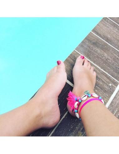 Bracelet de cheville avec pompon rose