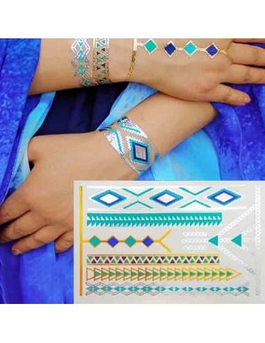 Tatouages éphémères turquoise