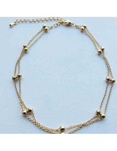 Bracelet de cheville perle blanche