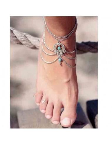 Bracelet de cheville original argenté