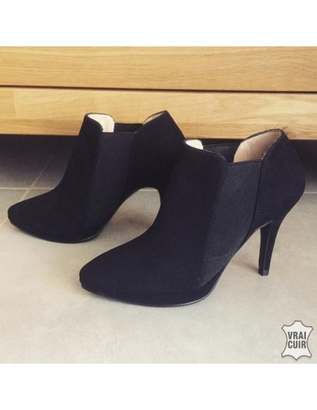 Low boots noirs en nubuck 9012