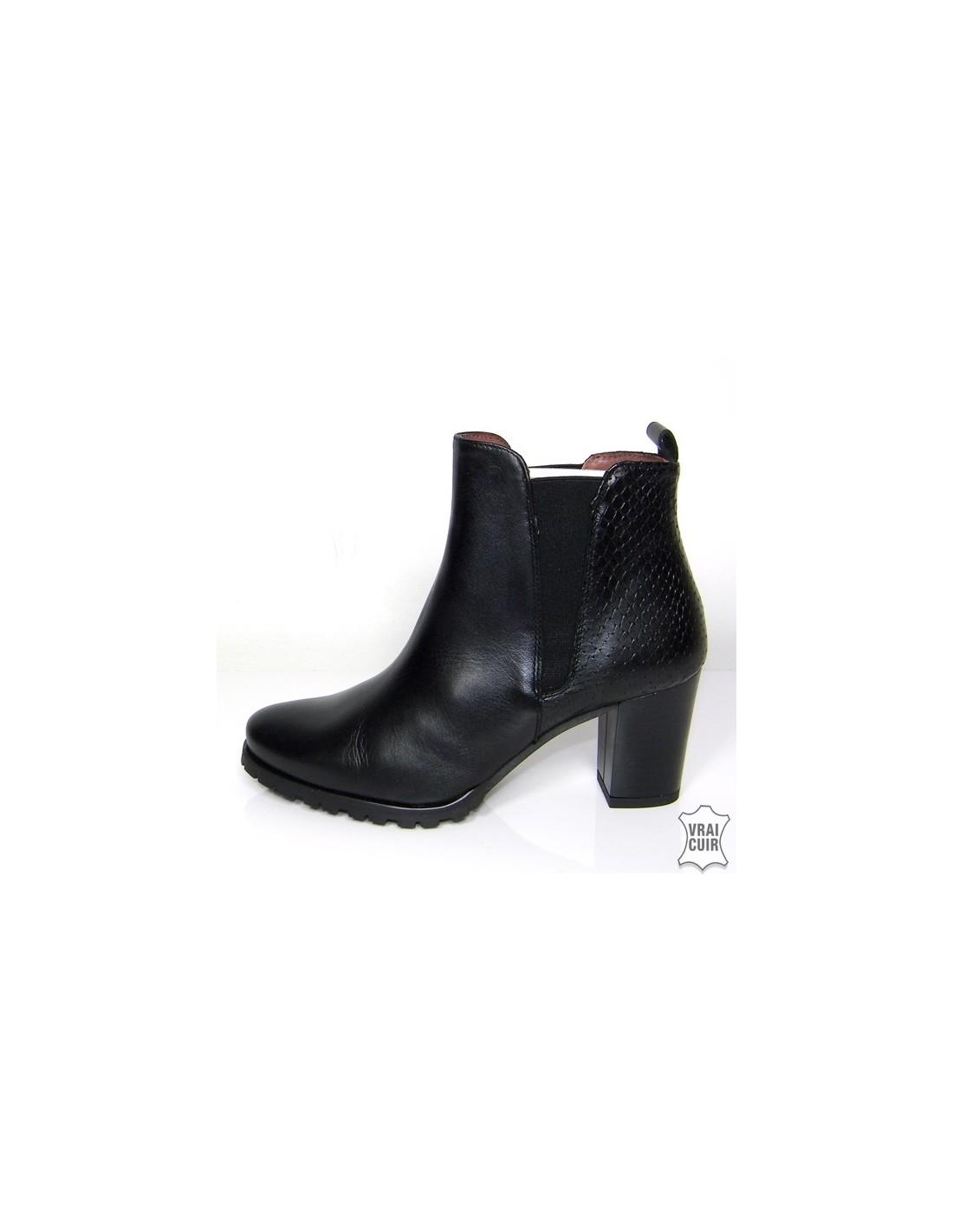 bottines noires avec petit talon pais en petite pointure femme. Black Bedroom Furniture Sets. Home Design Ideas