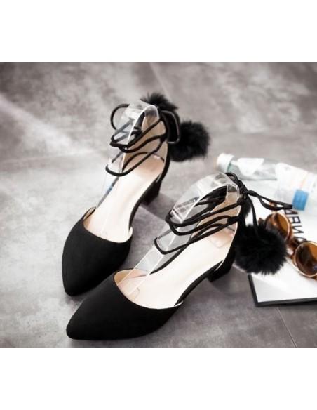 Escarpins noirs en aspect velours en petite pointure pour femme