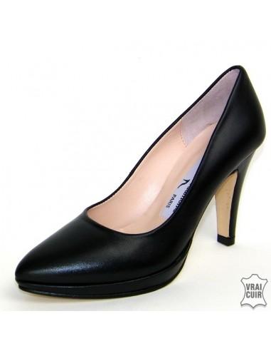 Escarpins à plateforme noirs cuir petite pointure femme