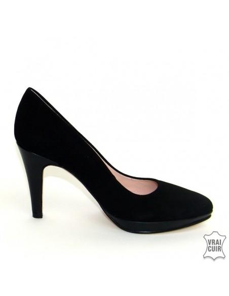 Escarpins noirs à plateforme yves de beaumond petite pointure femme