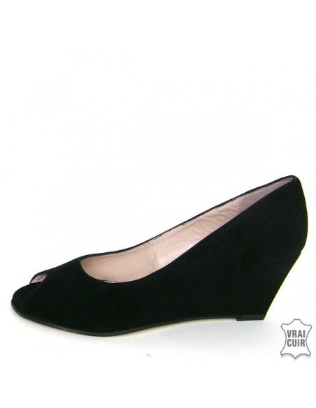 Sandalias de tacón de cuña negras talla pequeña mujer yves de beaumond