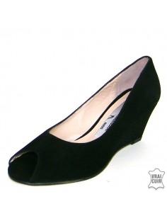 Sandales à talons compensés noires 7206