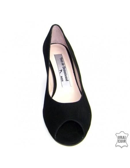 Sandales à talons compensés noires petite pointure femme yves de beaumond