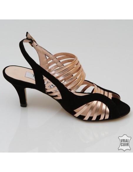 Sandales noires & or Mi-501