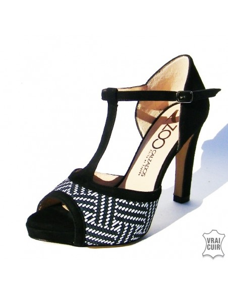 Sandales noires & blanches ZC0088