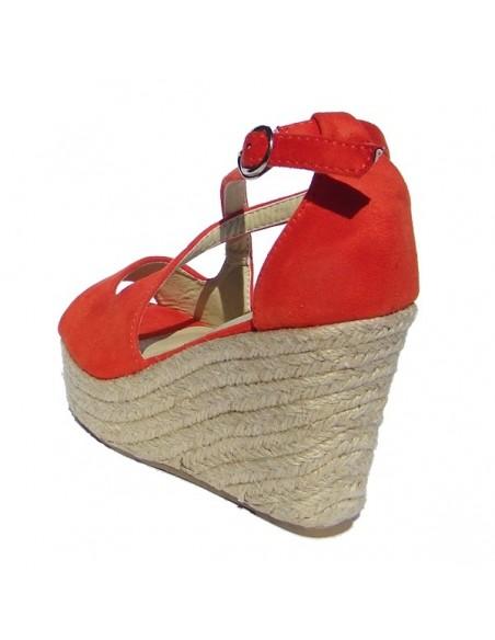 Sandales espadrilles oranges en petites pointures pour femme, talons compensés