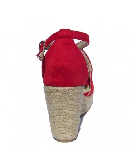 Sandales Mollys rouge, à talons compensés en petite pointure pour femme