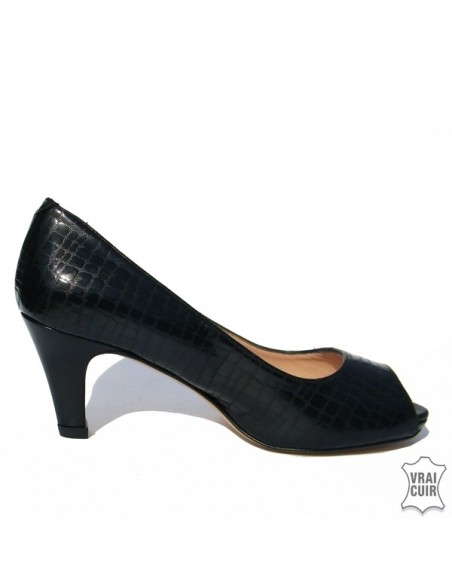 Escarpins noir peep toe ZC0191 petites pointures femme
