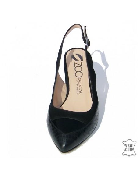 Escarpins noirs à talons ouverts ZC0240