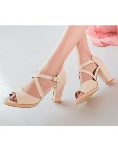 Sandales à talons carré Leptinella Beige