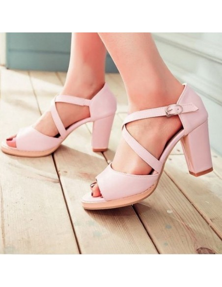 Sandales à talons carré petite pointure femme, petite taille
