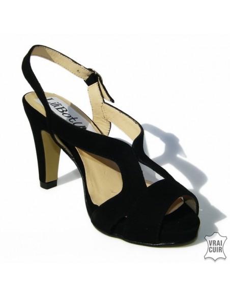 Sandales noires à plateforme Anya