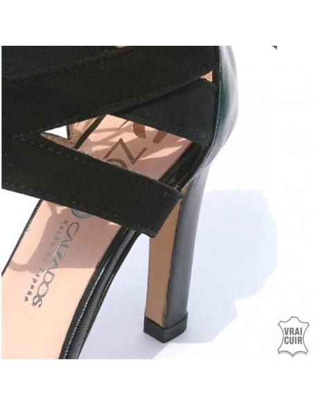 Sandales noires à plateforme et lacets en petite pointure pour femme, zoo calzados