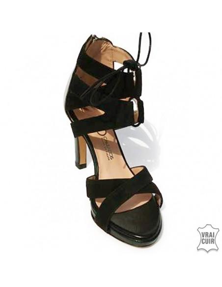 Sandalias negras de plataforma con cordones en talla pequeña para mujer, zoo calzados