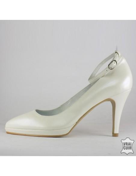 משאבות לבנות עגולות עם פלטפורמה ורצועה, נעלי חתונה, נשים קטנות בגודל 32 33 34 35