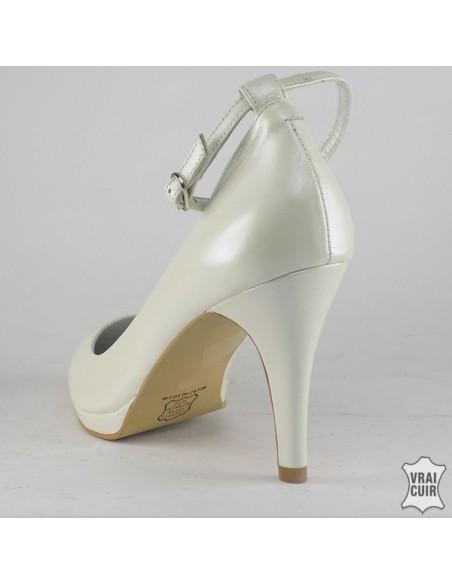 Escarpins blanc nacré à plateforme et bride, chaussures mariage, petite pointure femme 32 33 34 35