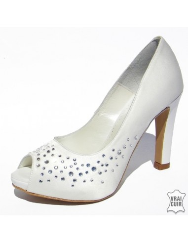 Escarpins mariage satin strass, chaussures mariée, petite pointure 31 32 33 34 35. zoo calzados