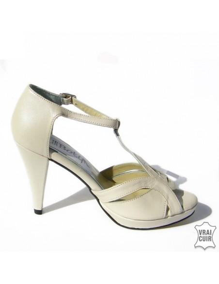 Escarpins ouverts beige nacré mariage, chaussures mariée, petite pointure femme