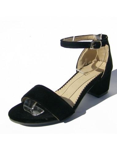 """Sandales noires aspect velours """"Erablia"""""""