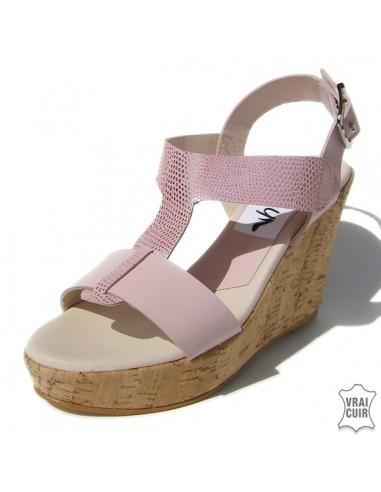 sandales talons compens s rose poudr cuir petite pointure femme. Black Bedroom Furniture Sets. Home Design Ideas