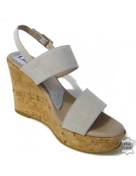 Sandales à talons compensés nude petite pointure femme cuir