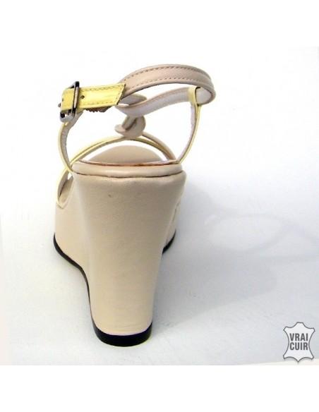 Sandalias de color beige y amarillo con cuñas en talla pequeña para mujer 32 33 34 35