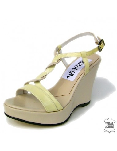 Sandales beige et jaune talons compensés en petite pointure femme 32 33 34 35