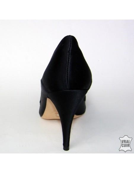 "Escarpins stilettos""Physalis"" satin noir"