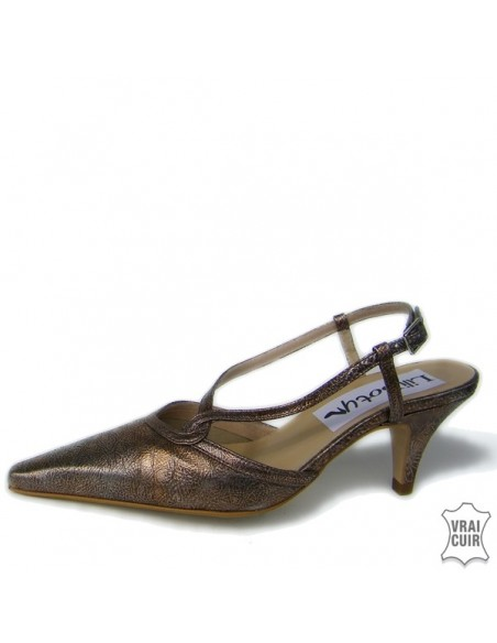 "Escarpins pointus bronze ""Davallia"" petite pointure femme pointure 34"