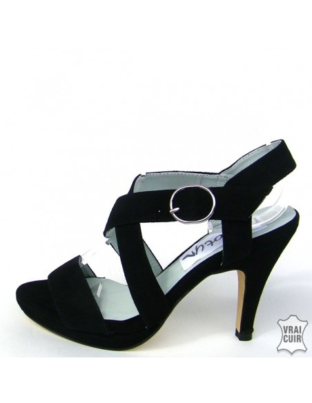 Sandales noires avec plateau en petite pointure pour femme 32 33 34 35 cuir