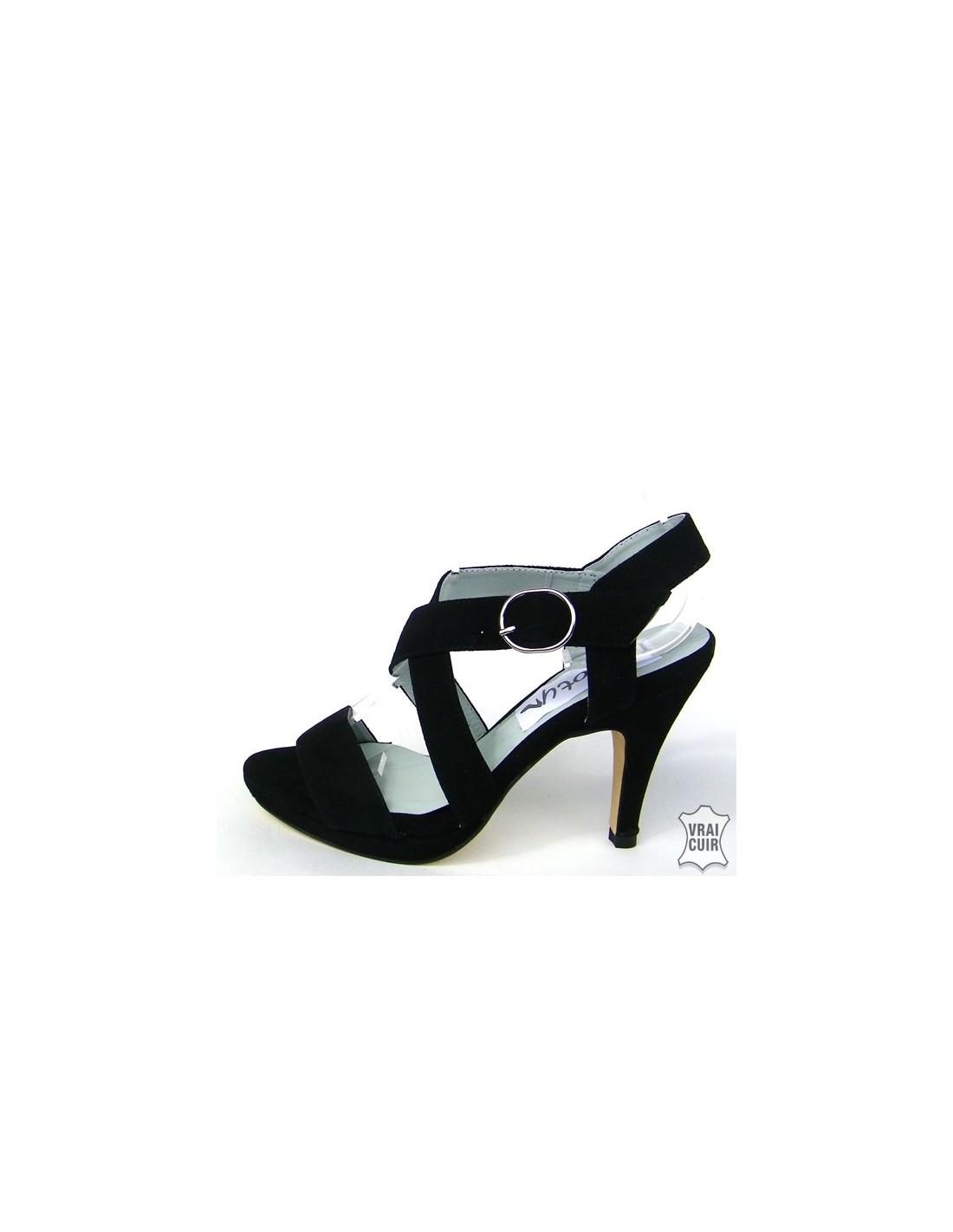 AvantCuir Petites Avec Plateau Pointure Sandales FemmeNoires FlcK1uTJ3