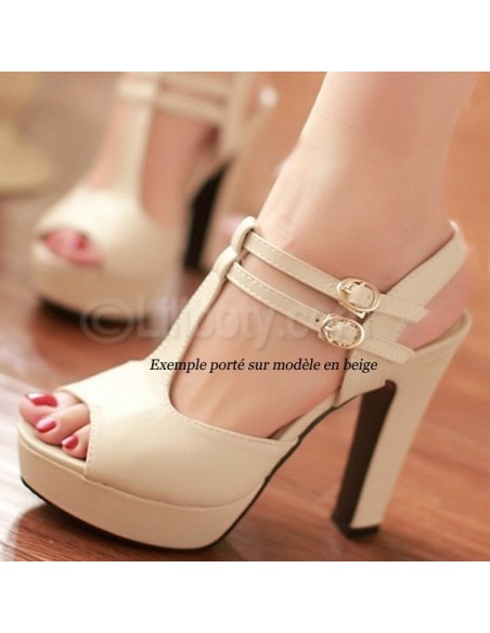 Sandales rose poudre en petite pointure pour femme