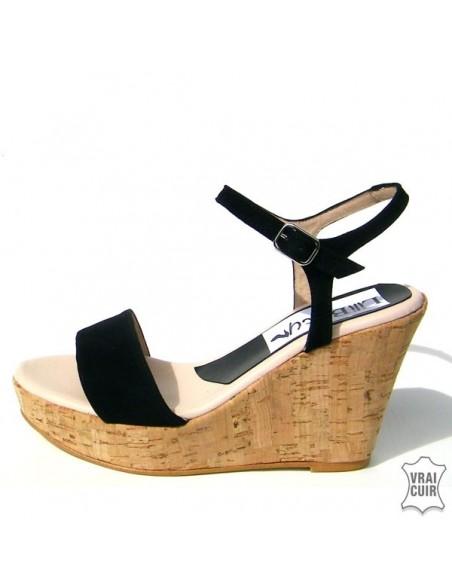 Sandales à talons compensés nubuck noir liege petite pointure femme liliboty