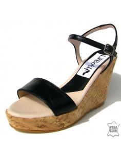 """Sandales noires """"Nina"""" cuir lisse"""