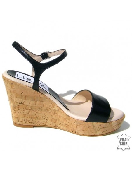 "Sandales noires ""Nina"" cuir petite pointure femme 32 33 34 35"
