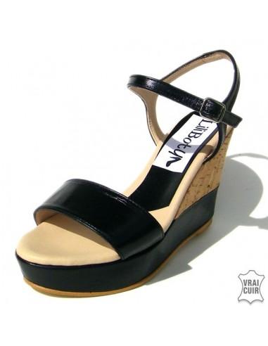 """Sandales """"Nina"""" talon liège et noir cuir petite pointure femme"""