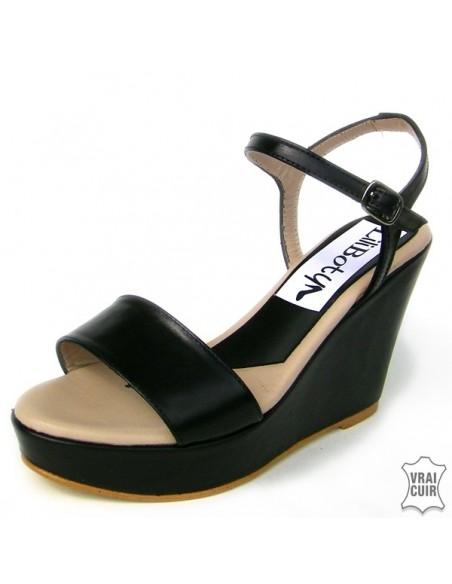 "Sandales ""Nina"" noires en cuir lisse petite pointure femme 32 33 34"