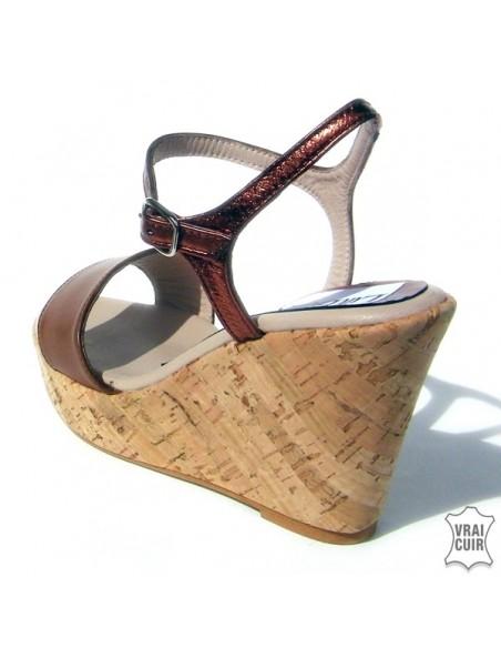 "Sandales ""Nina"" marron petite pointurefemme 32 33 34"